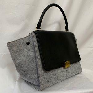 SOLD Trapeze Grey Wool Handbags